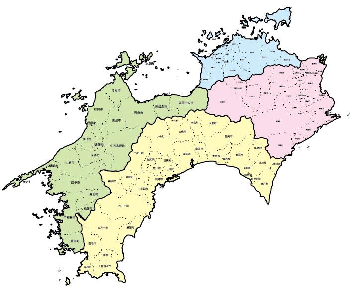四国エリア店対応可能地域マップ